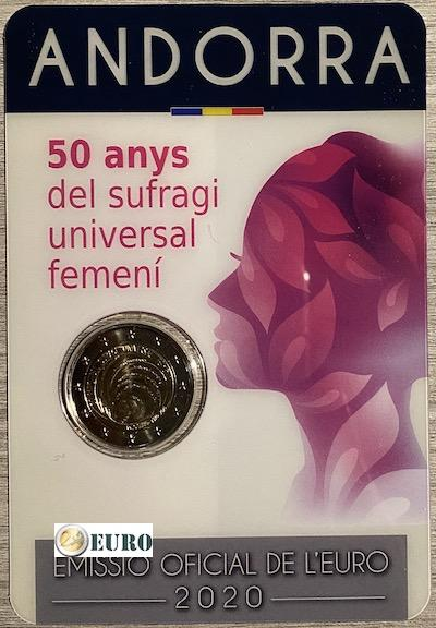 2 euros Andorre 2020 - 50 ans suffrage femmes BU FDC Coincard