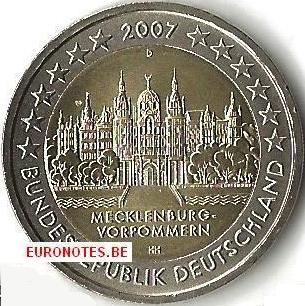 Allemagne 2007 - 2 euro D Mecklembourg-Poméraine occidentale UNC