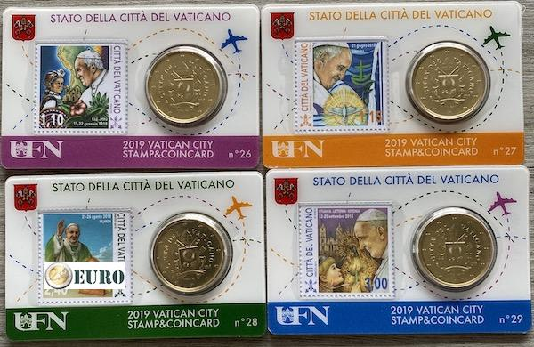 50 cents et timbre coincard Vatican 2019 - nr 26 + 27 + 28 + 29