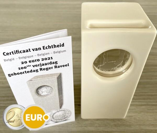 20 euros Belgique 2021 - Raveel BE Proof Argent céramique