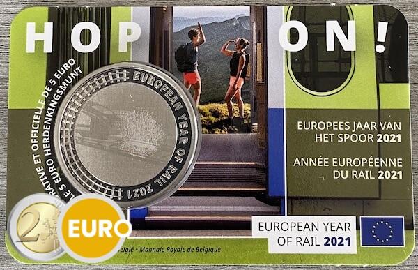 5 euros Belgique 2021 - Année européenne du rail BU FDC Coincard
