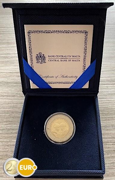 2 euros Malte 2021 - Héros de la pandémie UNC boîte poinçon MdP avec certificat